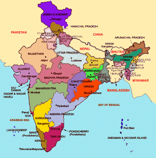 India Meridionale Cartina Geografica.Cartina Dell India Le Regioni Rodaviaggiando