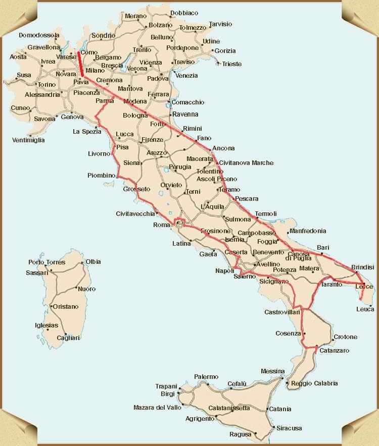 Cartina Italia Brescia.La Mappa Del Nostro Viaggio Per L Italia Rodaviaggiando